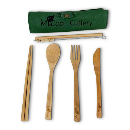 Bamboo Cutlery Set 6 items in Pouch - MiEco