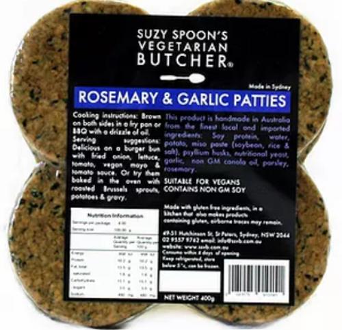 Rosemary & Garlic Patty Vegan Frozen - Suzy Spoons Vegetarian