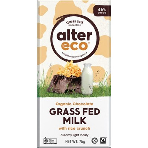 Milk Chocolate Grass Fed Rice Crunch Organic 75g - Alter Eco