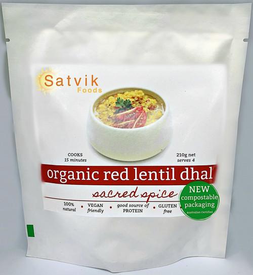 Red Lentil Dahl Organic 210g - Satvik Foods