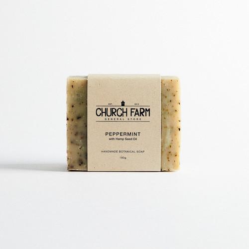 Peppermint & Hemp Oil Soap Bar 180g - Church Farm
