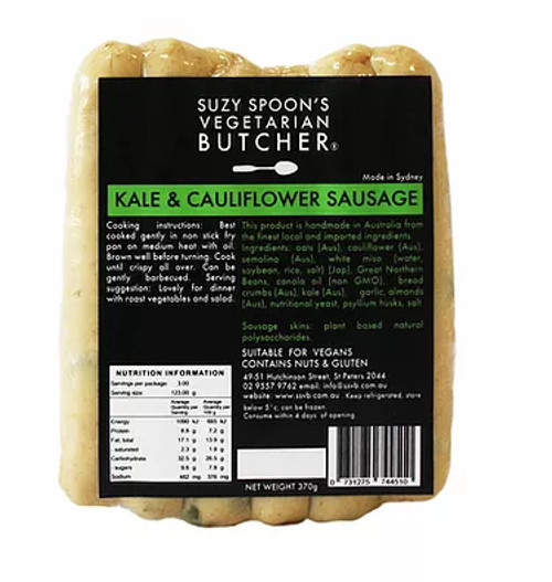 Kale & Cauliflower Sausages Vegan Frozen - Suzy Spoons Vegetarian Butcher