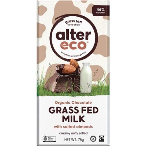 Milk Chocolate Grass Fed Salted Almonds Organic 75g - Alter Eco