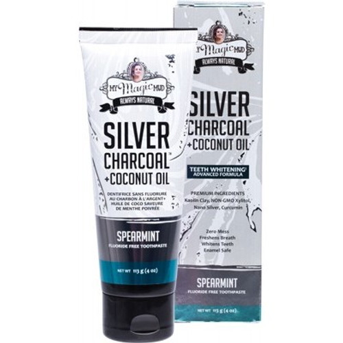 Toothpaste Silver Charcoal & Coconut Oil Spearmint 113g - My Magic Mud
