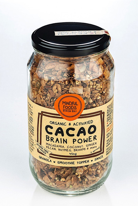 Cacao Brain Power Granola Activated Raw Organic 450G Jar- Mindful Foods