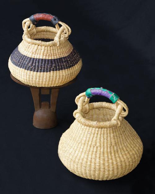 African Basket - Pot Basket Tiny(Smallest) One Handle Coloured