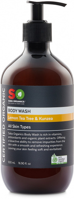 Body Wash Lemon Tea Tree & Kunzea Organic 500ml - Saba Organics