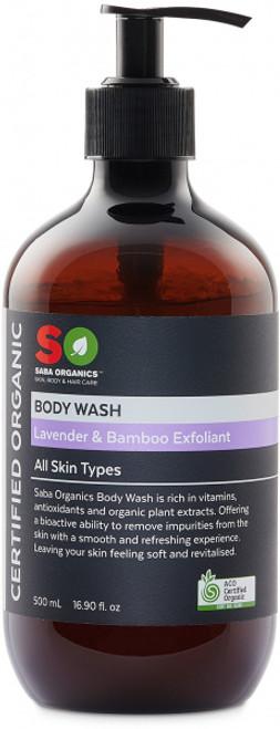 Body Wash Lavender & Bamboo Exfoliant Organic 500ml - Saba Organics