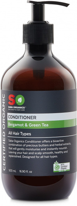 Conditioner Bergamot & Green Tea Organic 500ml - Saba Organics