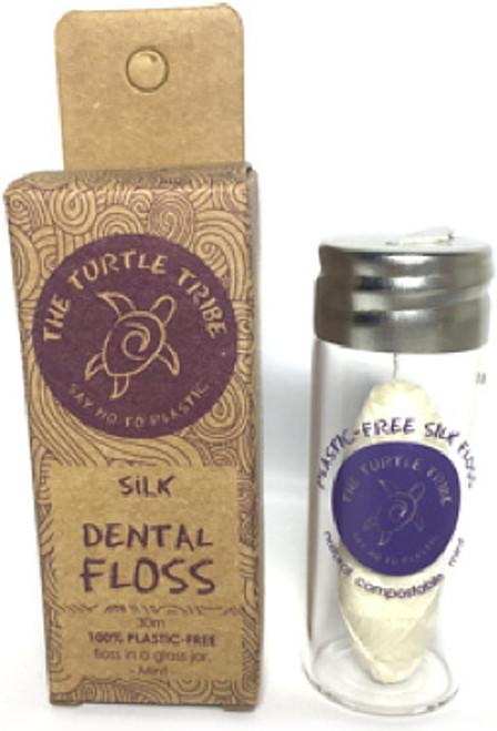 Dental Floss Silk Mint Glass jar 30m - The Turtle Tribe