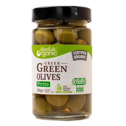 Olives Green Pitted Organic 295g - Absolute Organic