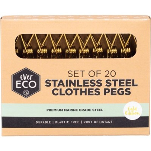 Clothes Pegs GOLD Premium Marine Grade Stainless Steel 20 pack - Ever Eco