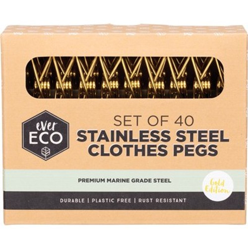 Clothes Pegs GOLD Premium Marine Grade Stainless Steel 40 pack - Ever Eco