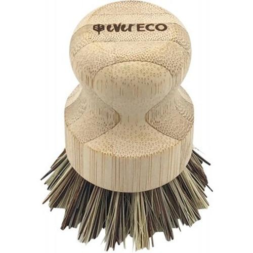 Pot Scrubber Brush Bamboo Handle, Palm Leaf bristle - Ever Eco