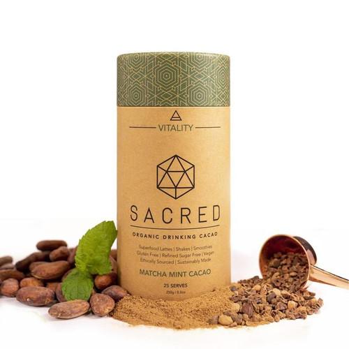 Matcha Mint Cacao Drinking Cacao Sacred Vitality Organic 250g - Sacred Taste