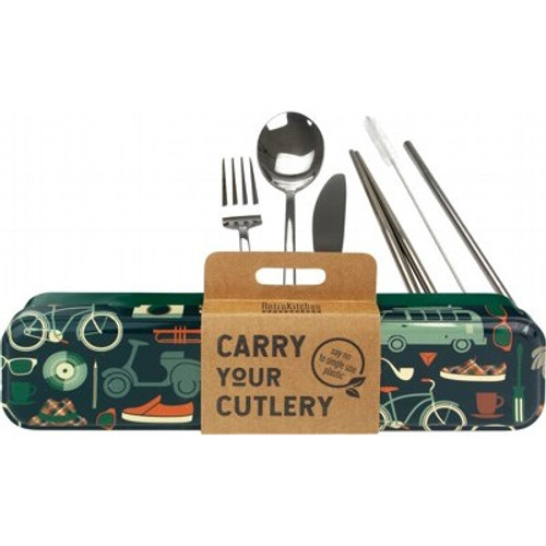 Carry Your Cutlery Stainless Steel Cutlery 8 pce Set Retro Man - RetroKitchen