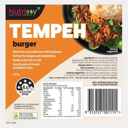 Tempeh Burger 200g - Nutrisoy