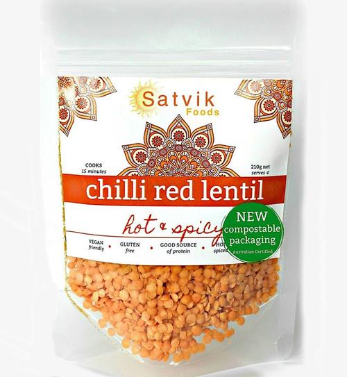 Chilli Red Lentil Dahl Hot N Spicy Organic 210g - Satvik Foods