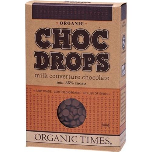 Choc Drops Milk Couverture Drops Organic 200g - Organic Times