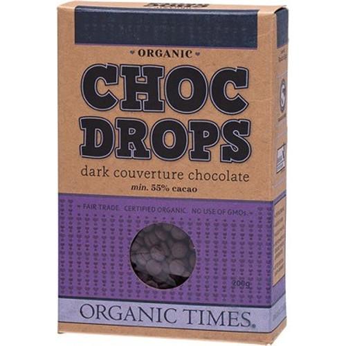 Choc Drops Dark Couverture Drops Organic 200g - Organic Times