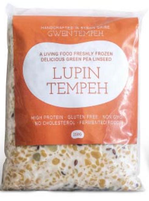 Tempeh Lupin Green Pea Linseed (Frozen) 250g - Gwen Tempeh