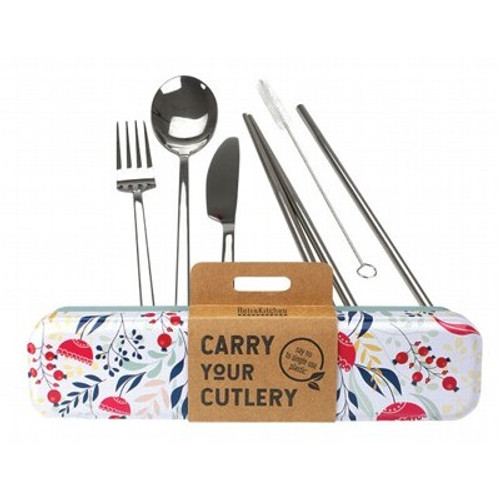 Carry Your Cutlery Stainless Steel Cutlery 8 pce Set Botanical - RetroKitchen