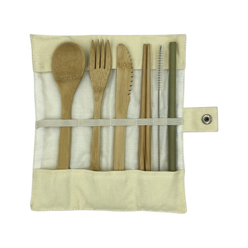 Bamboo Cutlery Set 6 pce in Pouch - Nutra Organics