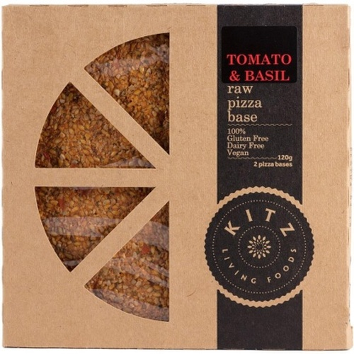 Tomato & Basil Raw Pizza Base x 2 Organic 120g - Kitz