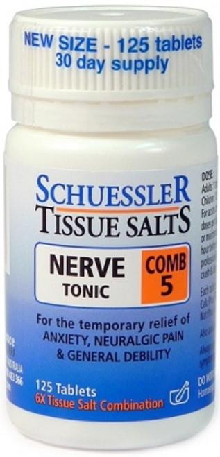 Comb 5 Nerve Tonic 125 Tab Schuessler Tissue Salts - Martin & Pleasance