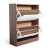 2 Tier Drawer Modern Convenient Shoe Storage Cabinet Organizer in Oak/White Finish