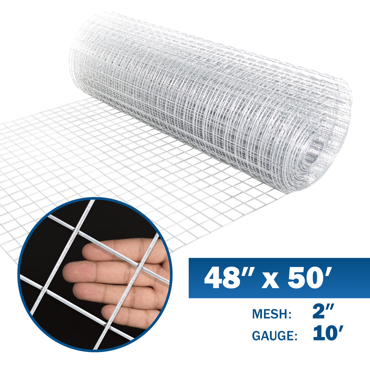 10 Gauge Galvanized Welded Wire Mesh Size 2 Inch By 2 Inch 4 Ft X 50 Ft Fencerwire