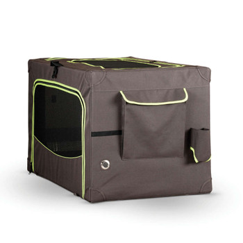"""CLASSY GO SOFT CRATE LARGE BROWN/LIME GREEN 24"""" x 36"""""""