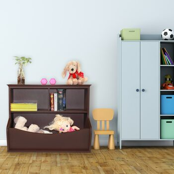 Children Toy Storage Organizer, Open Storage Cubby, Multifunctional Book and Toy Storage Cabinet (Espresso)