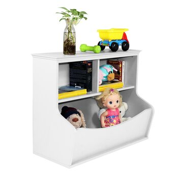 Children Toy Storage Organizer, Open Storage Cubby, Multifunctional Book and Toy Storage Cabinet (White)