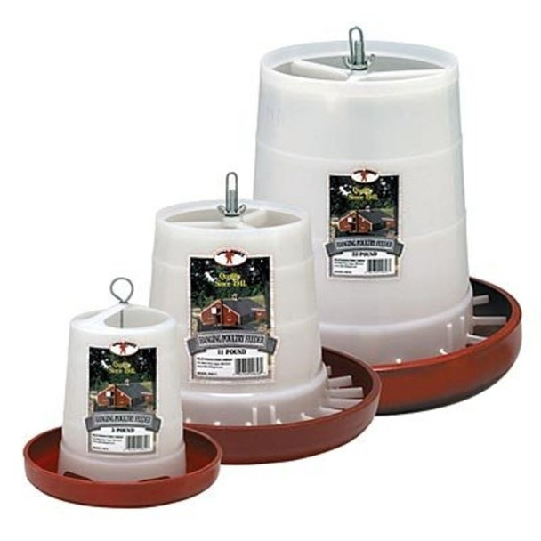 Made of durable plastic. A specially designed base prevents chickens from scratching out feed. Has an open top to allow for quick filling of feed.