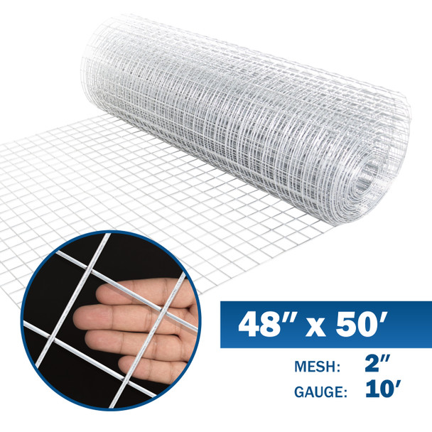10 Gauge Galvanized Welded Wire Mesh Size 2 inch by 2 inch (4 ft. x 50 ft.)