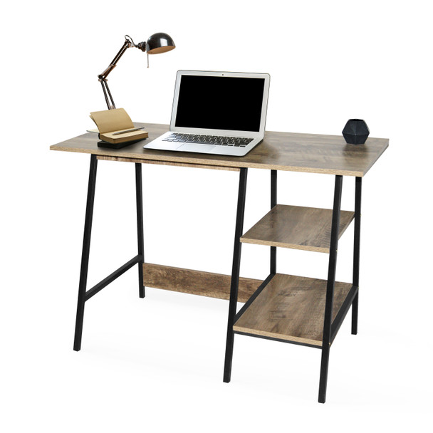 Computer Desk w/ 2-Tier Shelves, Study Table, Writing Desk, Office Desk in Oak/Black Finish