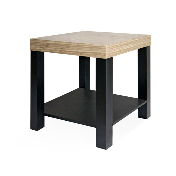 Dual Tone Side End Table with Storage Shelf, Night Stand, Light Oak Finish and Black