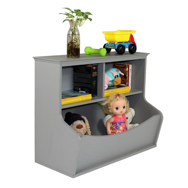 Children Toy Storage Organizer, Open Storage Cubby, Multifunctional Book and Toy Storage Cabinet (Grey)