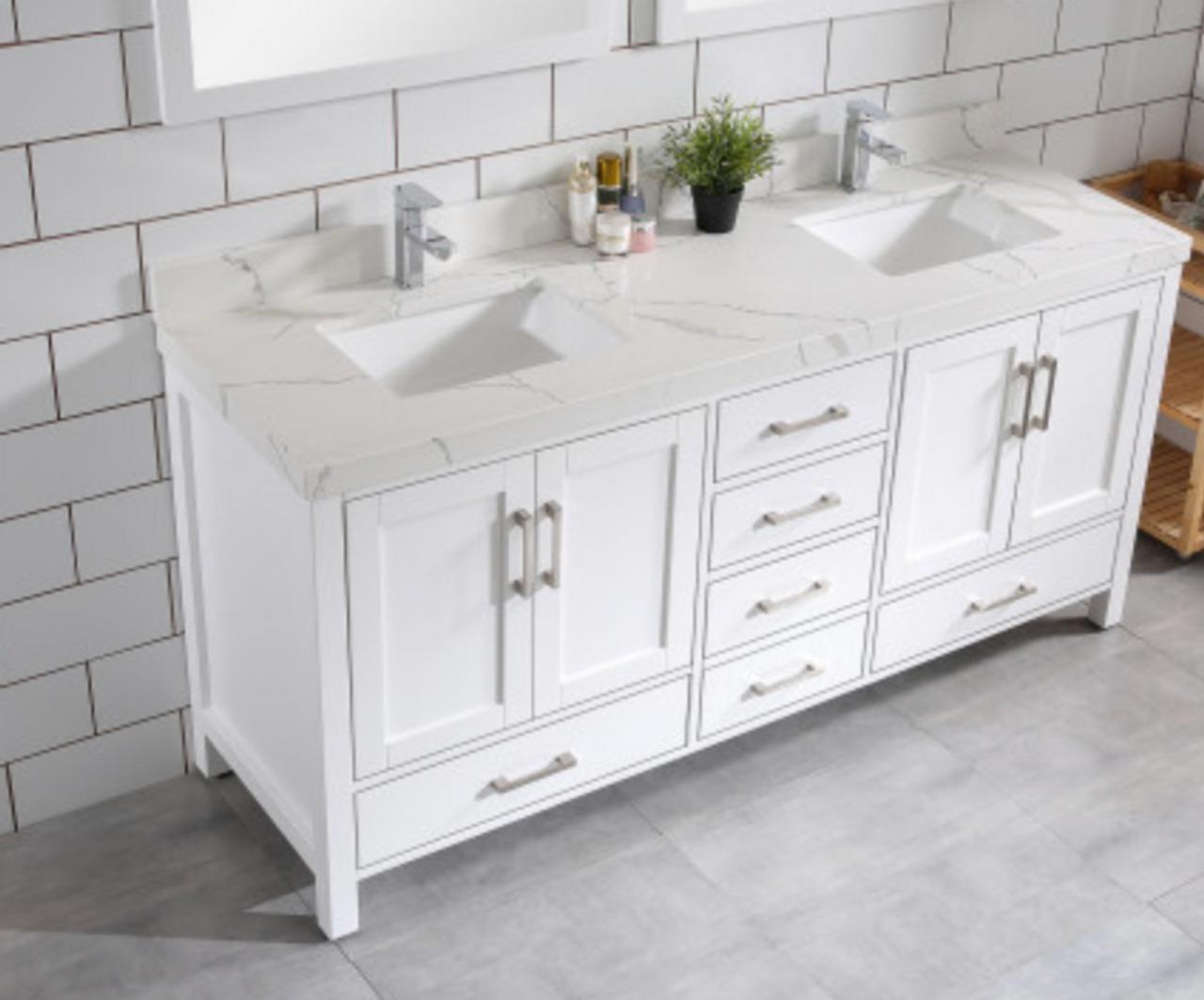 Palmera 72 Double Sink White Bathroom Vanity