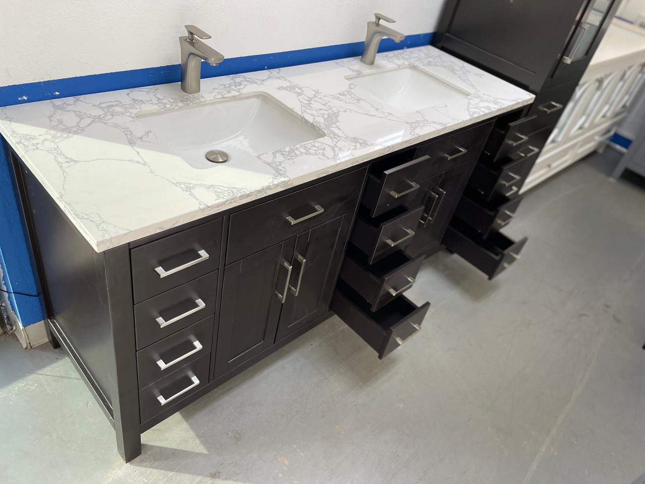 Alexandria 20 inch Espresso Bathroom Vanity w/ Quartz Top & Double ...