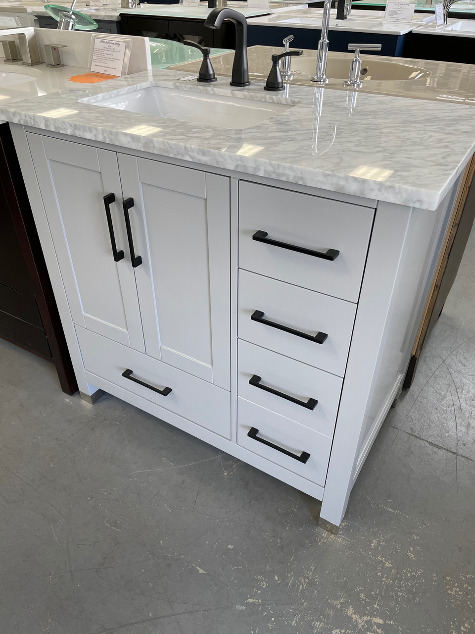 Royal Key West Collection 36 Inch Gray Bathroom Vanity Left Offset