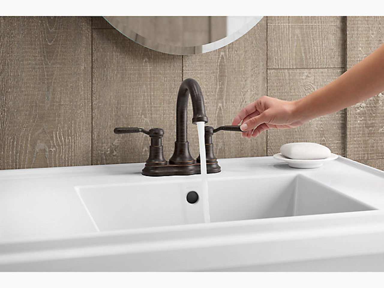 Kohler Worth Two Handle 4 Centerset Bathroom Faucet In Oil Rubbed Bronze Royal Bath Place