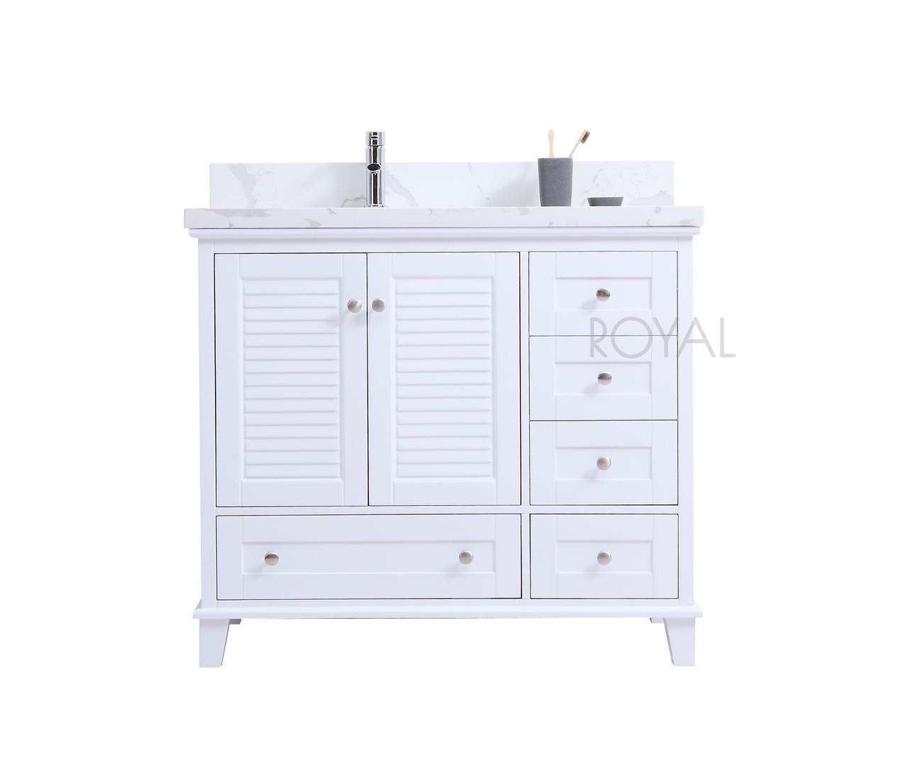 Keyes 36 White Offset Left Sink Bathroom Vanity Royal Bath Place