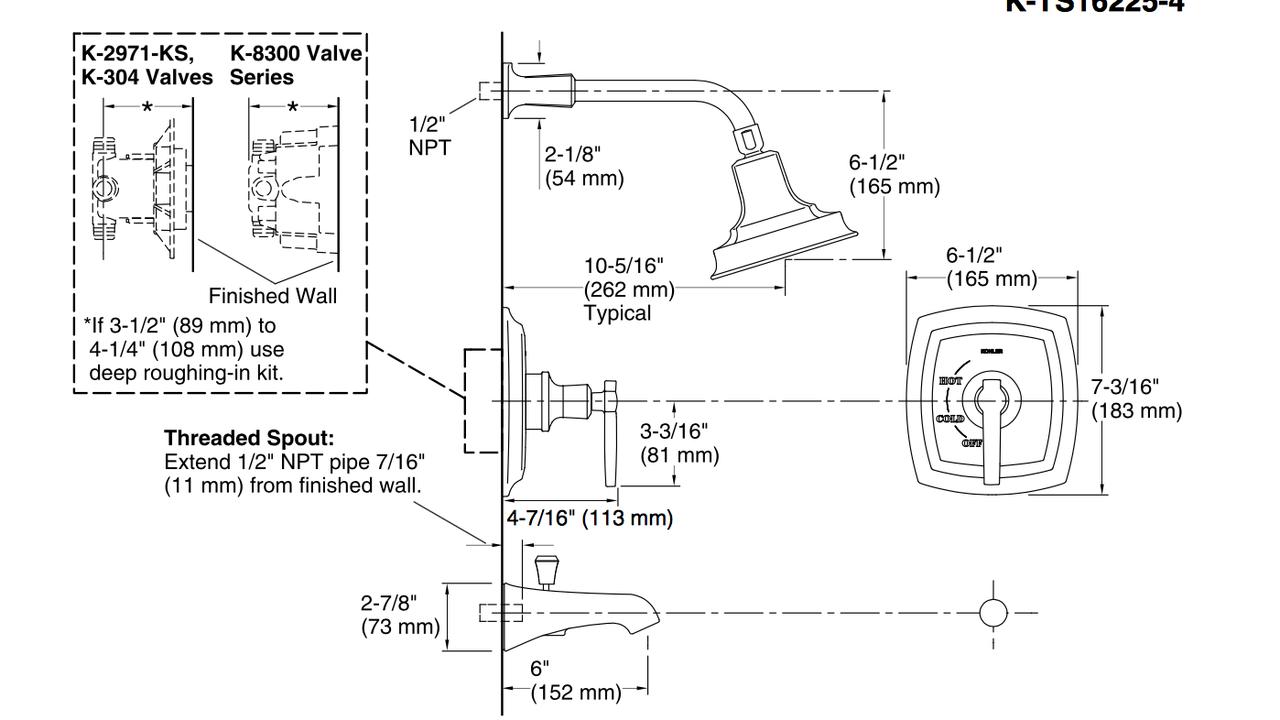 Kohler | Margaux® Rite-Temp® bath and shower valve trim with lever handle,  NPT spout and 2.5 gpm showerhead - Royal Bath PlaceRoyal Bath Place