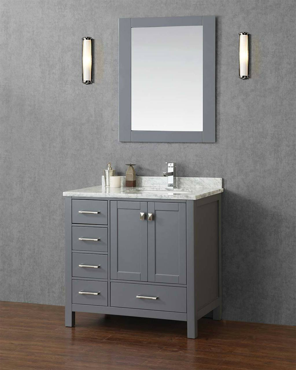 Key West 40 Gray Offset Right Sink Bathroom Vanity Royal Bath Place