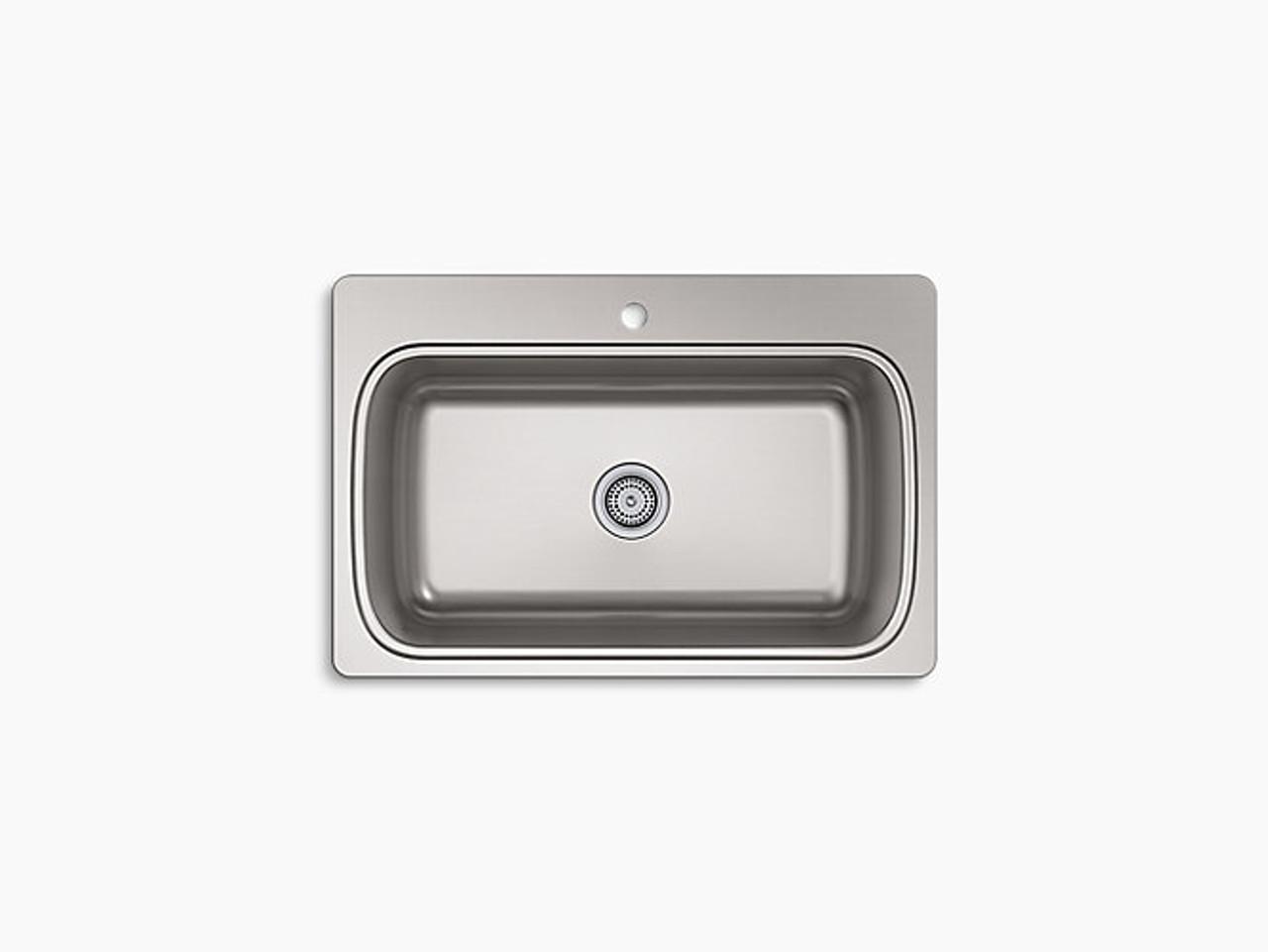Kohler Verse 33 X 22 X 9 Top Mount Single Bowl Kitchen Sink With Single Faucet Hole Royal Bath Place
