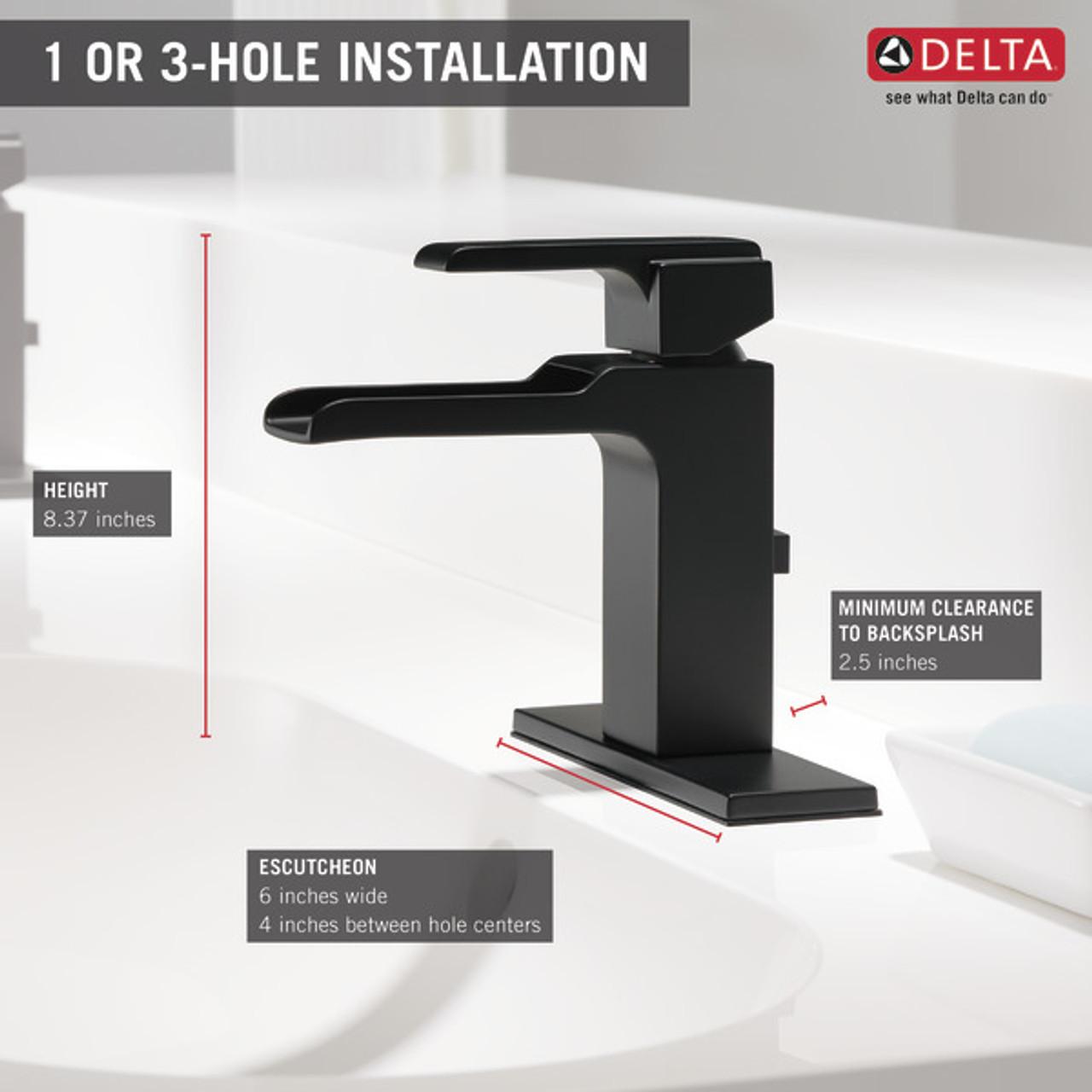delta ara single handle channel lavatory faucet venetian bronze