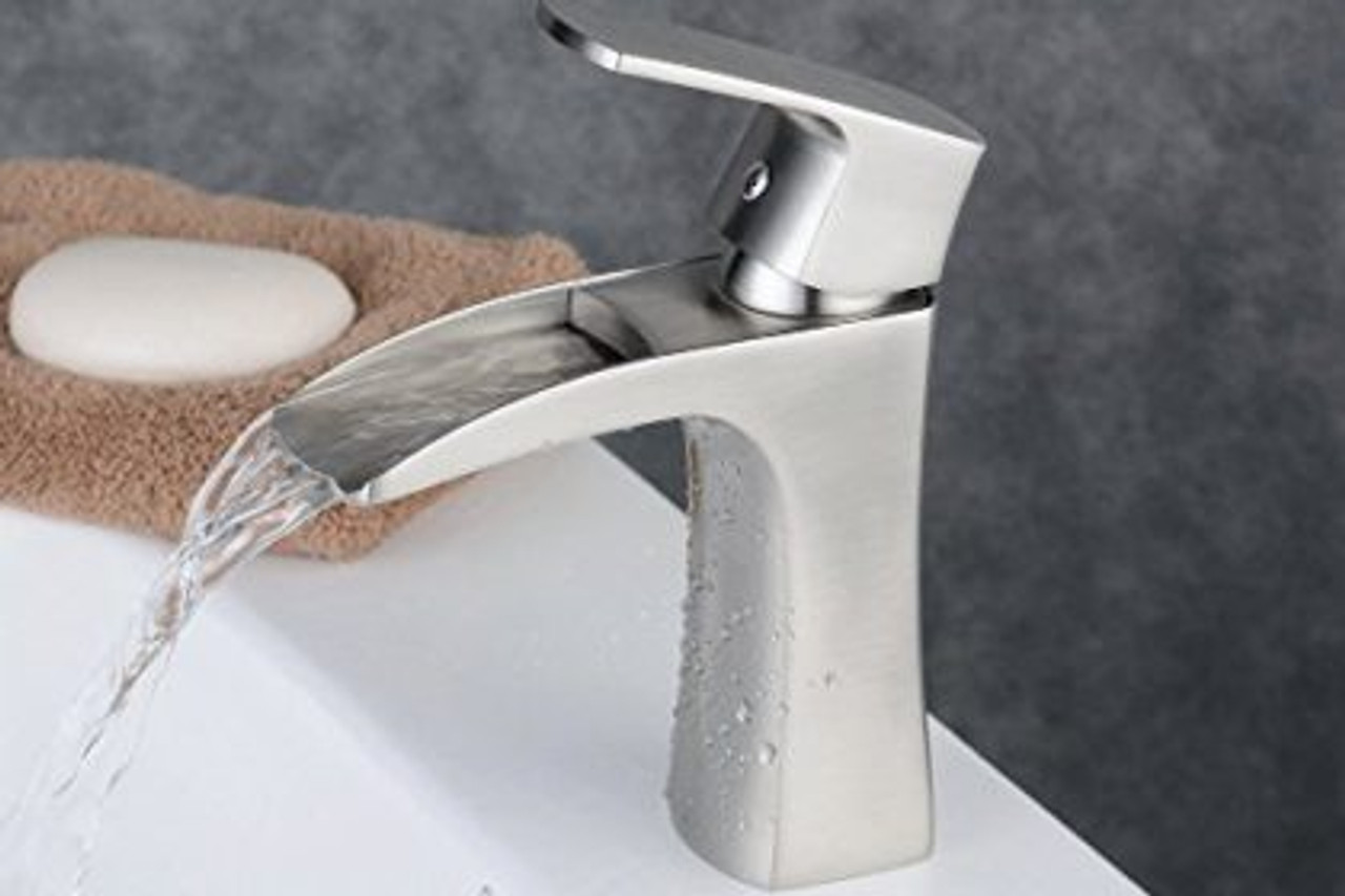 Picture of: Royal Costa Waterfall Single Handle Lav Faucet Brushed Nickel Royal Bath Place