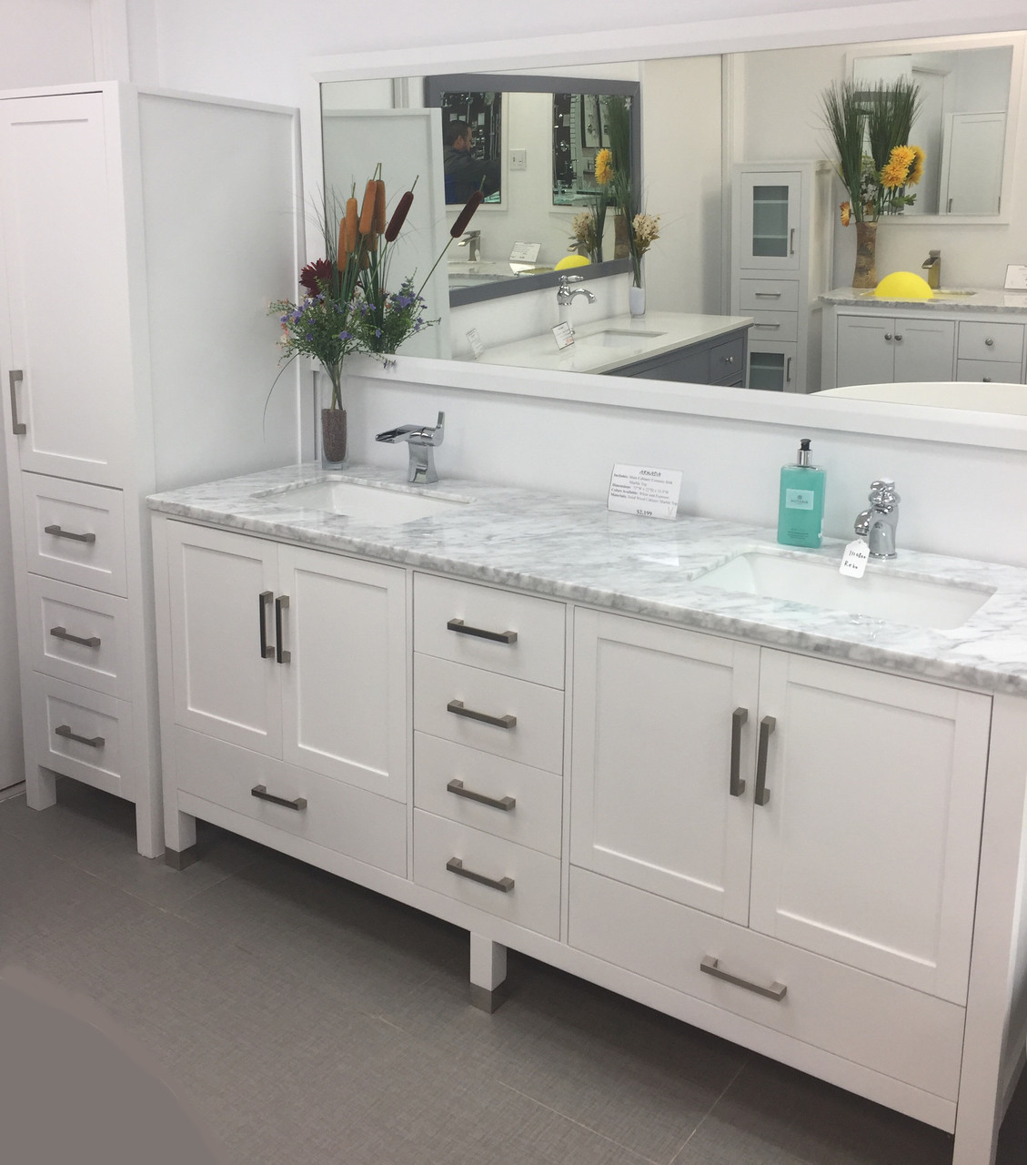 Palmera 90 Double Sink Bathroom White Vanity Side Cabinet Tower Royal Bath Place